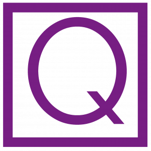 Purple Q and Purple surrounding Box
